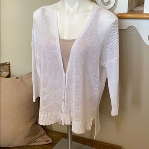 EILEEN FISHER cardigan top S white knit button